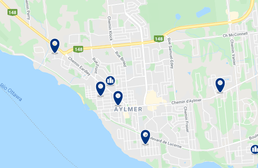 Accommodation in Aylmer - Click on the map to see all available accommodation in this area