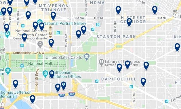 Alojamiento en Capitol Hill - Clica sobre el mapa para ver todo el alojamiento en esta zona