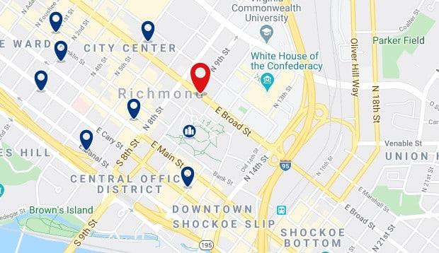 Alojamiento en Downtown Richmond - Clica sobre el mapa para ver todo el alojamiento en esta zona