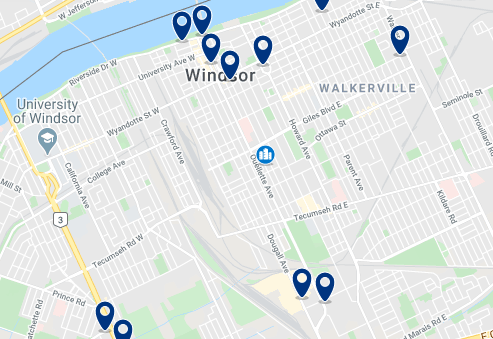 Accommodation in Downtown Windsor - Click on the map to see all accommodation in this area