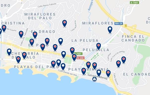 Alojamiento en El Palo - Clica sobre el mapa para ver todo el alojamiento en esta zona