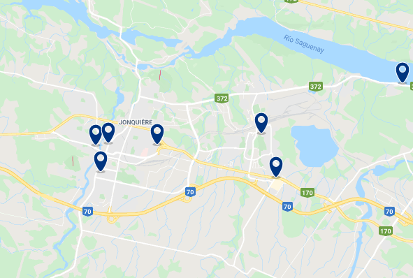 Accommodation in Jonquière - Click on the map to see all available accommodation in this area