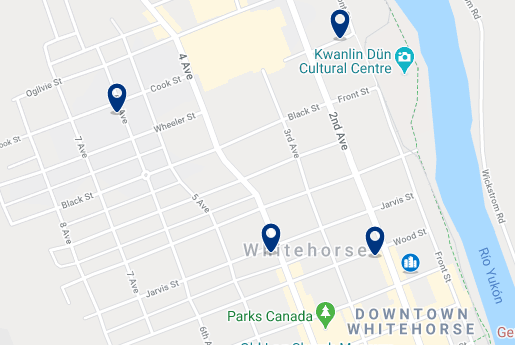 Accommodation in Whitehorse City Centre - Click on the map to see all accommodation in this area