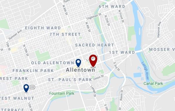 Alojamiento en Downtown Allentown - Clica sobre el mapa para ver todo el alojamiento en esta zona