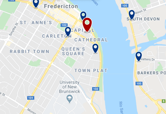 Accommodation in Fredericton City Centre - Click on the map to see all available accommodation in this area