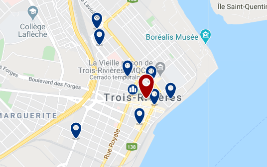 Accommodation in Trois Rivieres City Centre - Click on the map to see all available accommodation in this area