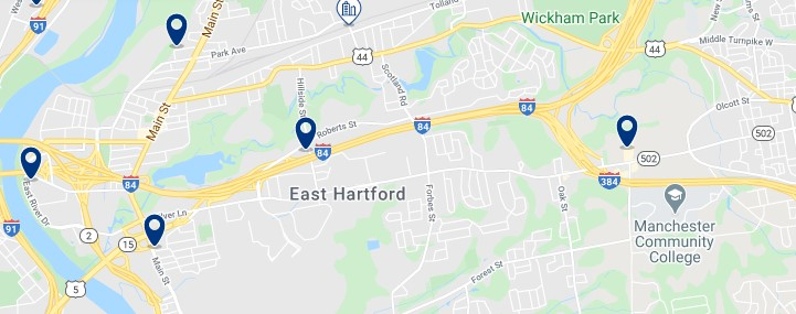 Accommodation in East Hartford - Click to see all available accommodation on a map