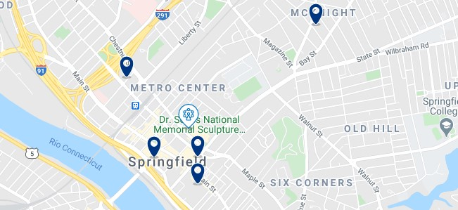 Accommodation in Springfield, MA Metro Center - Click on the map to see all the accommodation