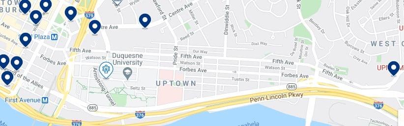 Alojamiento en Uptown Pittsburgh - Haz clic para ver todos el alojamiento disponible en esta zona