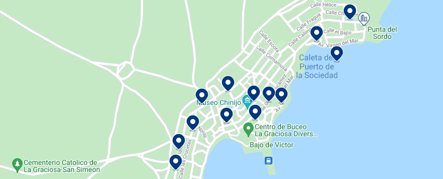 Accommodation in Caleta de Sebo - Click on the map to see all the available accommodation in this area