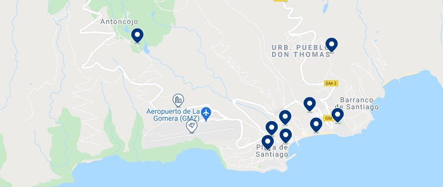 Accommodation in Playa Santiago - Click on the map to see all the available accommodation in this area