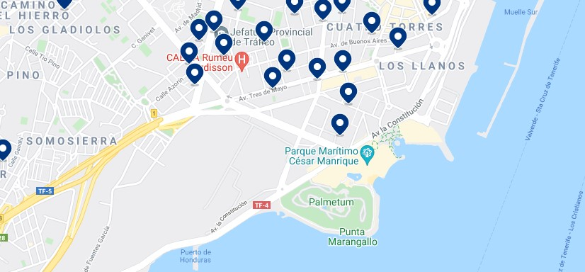 Accommodation near Auditorio de Tenerife – Click on the map to see all the available accommodation in this area