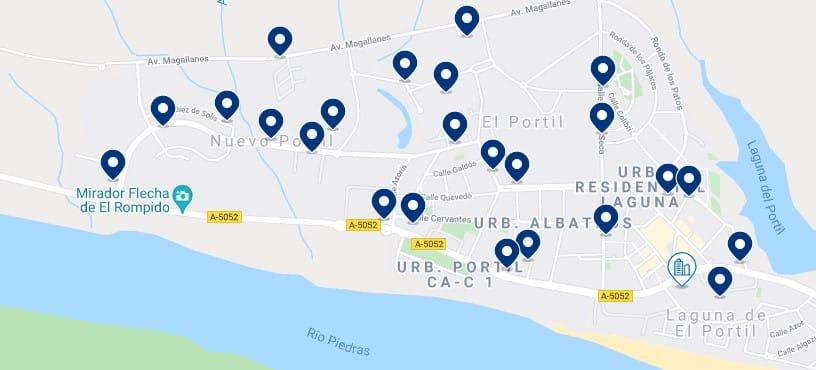 Alojamiento en El Portil y Nuevo Portil – Haz clic para ver todo el alojamiento disponible en esta zona