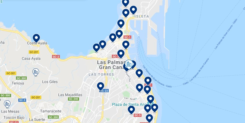 Accommodation in Las Palmas de Gran Canaria – Click on the map to see all the available accommodation in this area