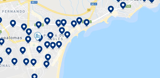 Accommodation in Playa del Inglés – Click on the map to see all the available accommodation in this area
