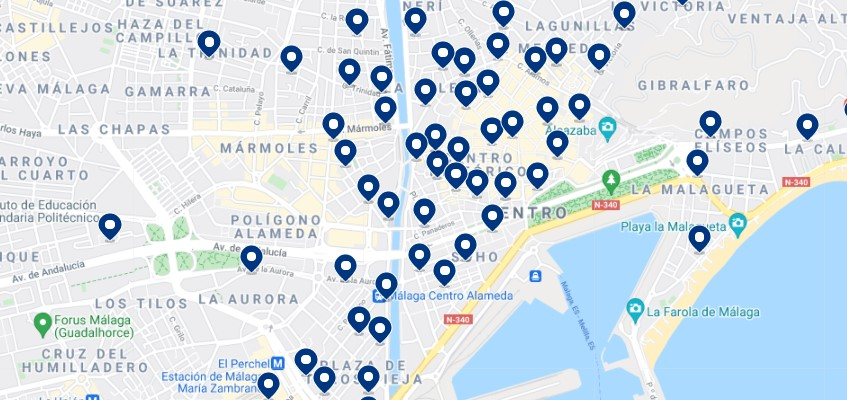 Accommodation in Málaga, Costa del Sol – Click on the map to see all the available accommodation in this area