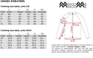UNISEX size chart
