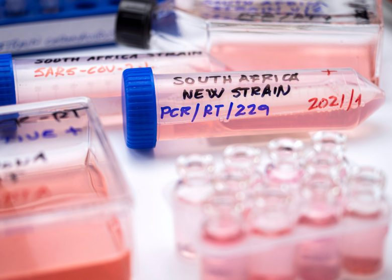 Several vials positive for covid-19 infection of the new variant in the south africa