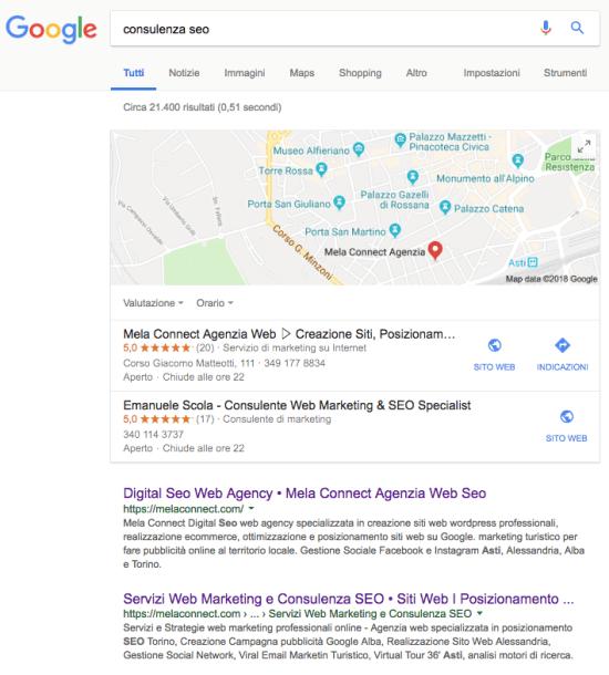 Consulenza seo professionale ricerca su Google