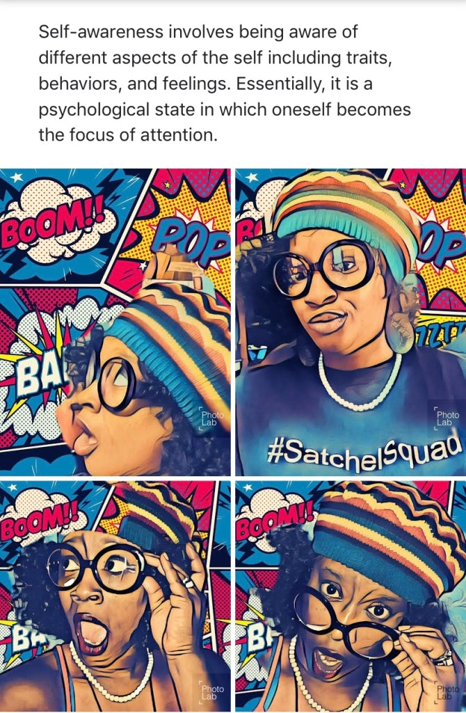 Cartoon about self awareness. Four squares of Melanated Pearl.