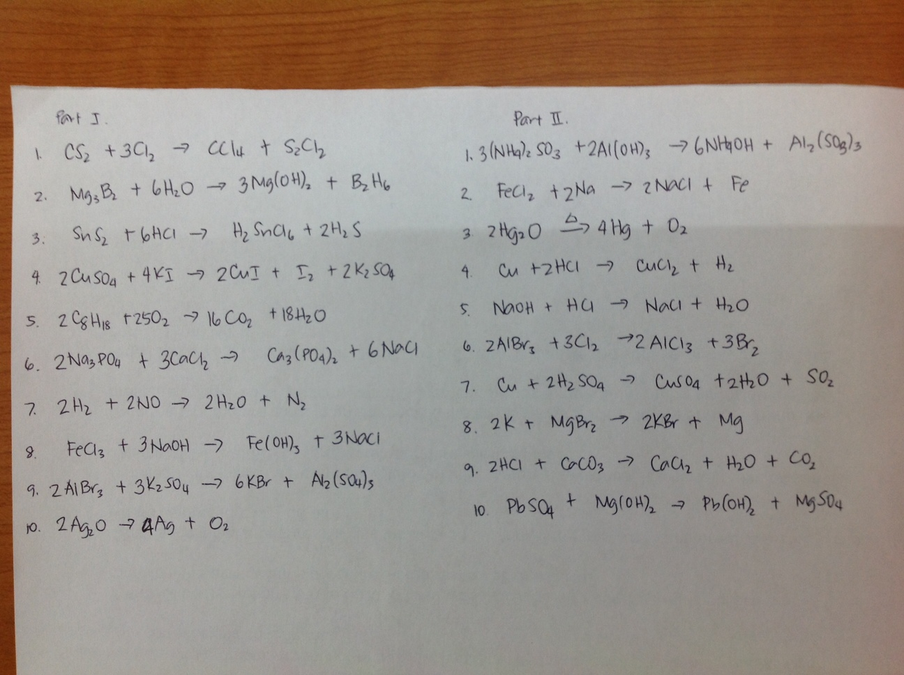 Balancing Chemical Equations Practice 8th Grade