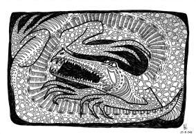 Crocodile - Dessin au marqueur fin