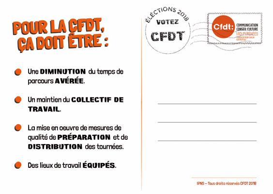 Carte postale (dos) pour campagne CFDT à La Poste