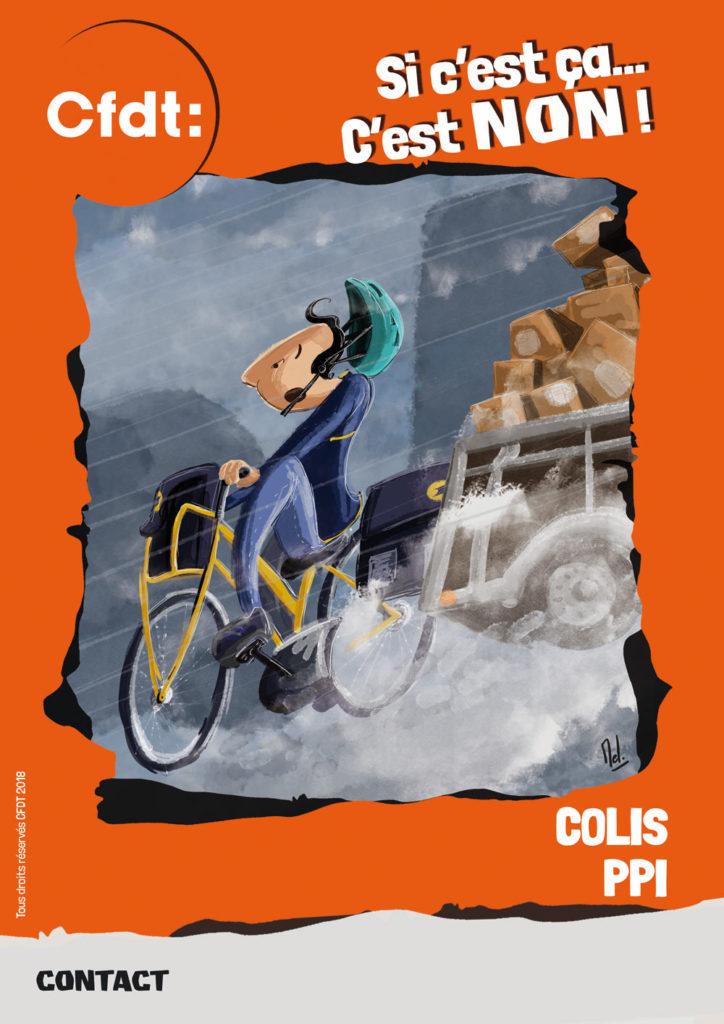Affiche pour campagne CFDT à La Poste