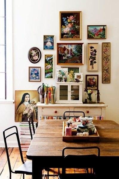 Beautiful vintage gallery wall Image: Dishfunctional Designs