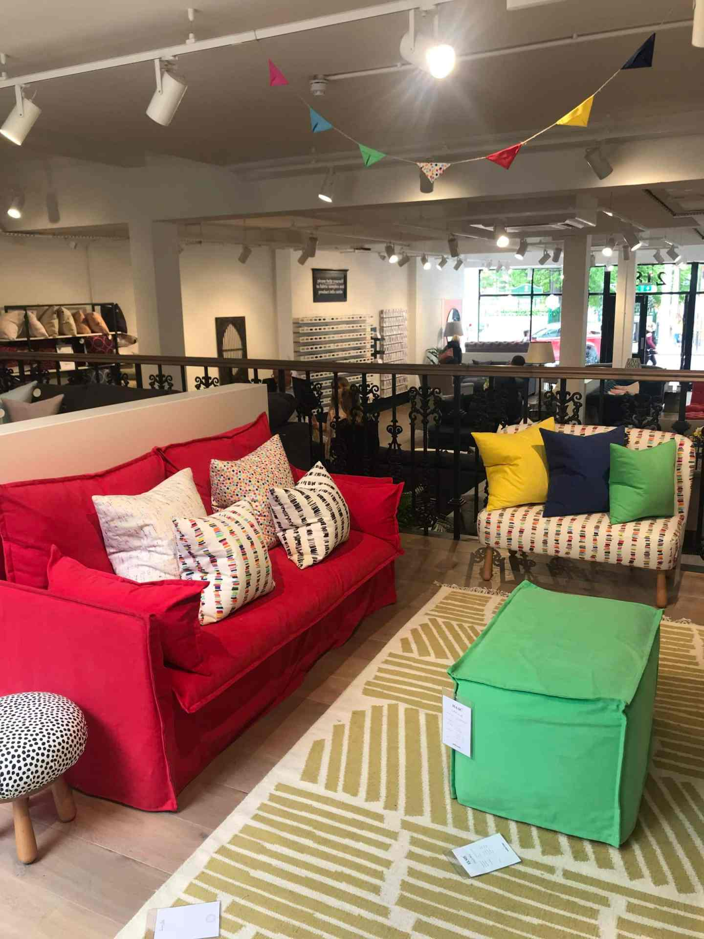 Loved the colours and patterns in this corner, complete with removable covers.  Isaac sofa in Strawberry Lace
