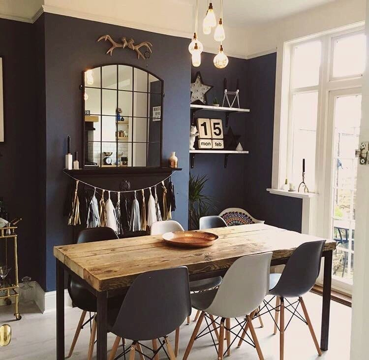 A Scandi inspired dining room, complete with rustic table -  www.etsy.com