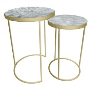 Nest of marble and gold tables - sue ryde r