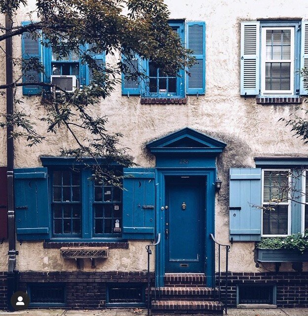 A wonderfully blue facade in Philadelphia Instagram:  @occasionally.in.ohio