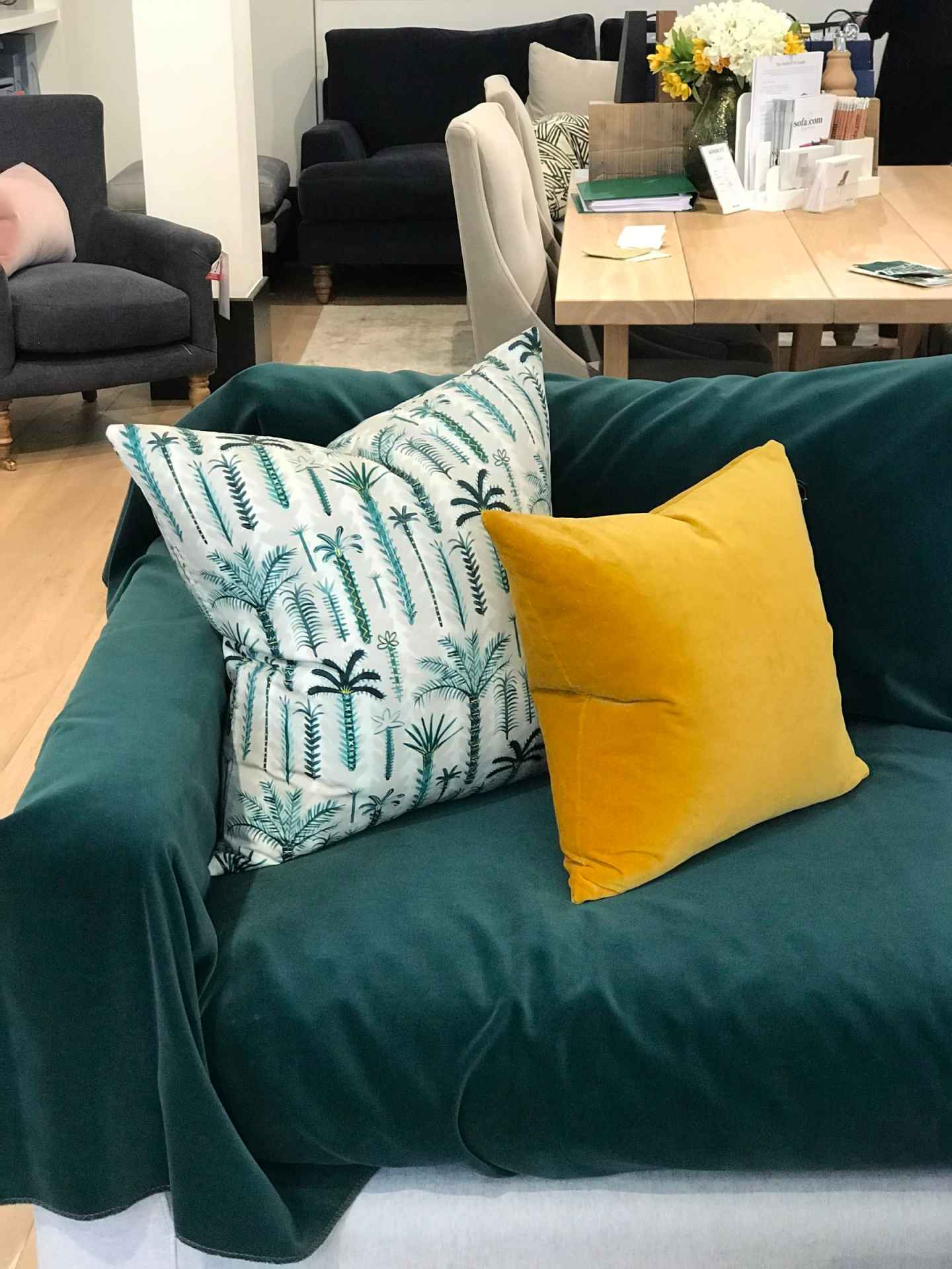 Taking the Jade fabric and adding a  Lucy Tiffney Palm Tree  and  Butterscotch  scatter cushion