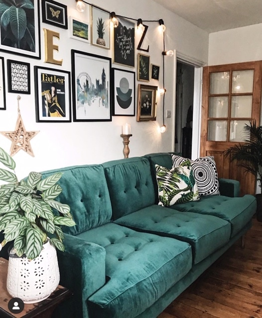 My new  Mabel sofa  sits perfectly under our gallery wall