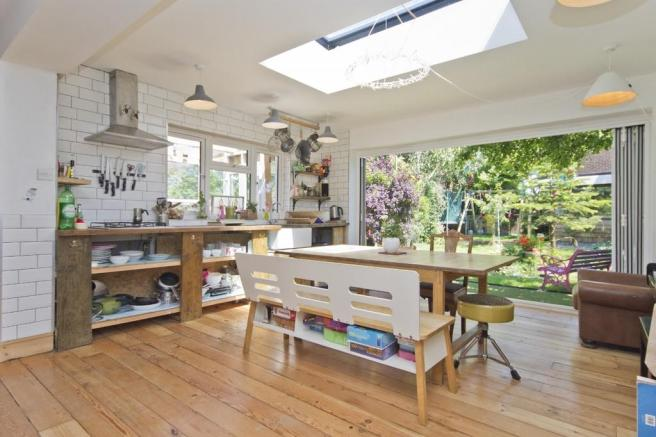 The beautiful light and airy kitchen with bifolds. Credit: Osborn Humphreys