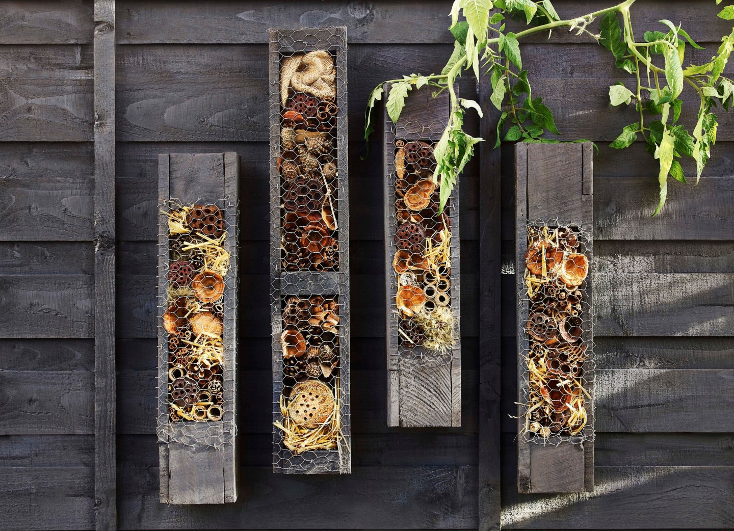 "Bug Hotel ideas. The beautiful colours of the ""bedding"" stand out wonderfully against the Black Ash paint"
