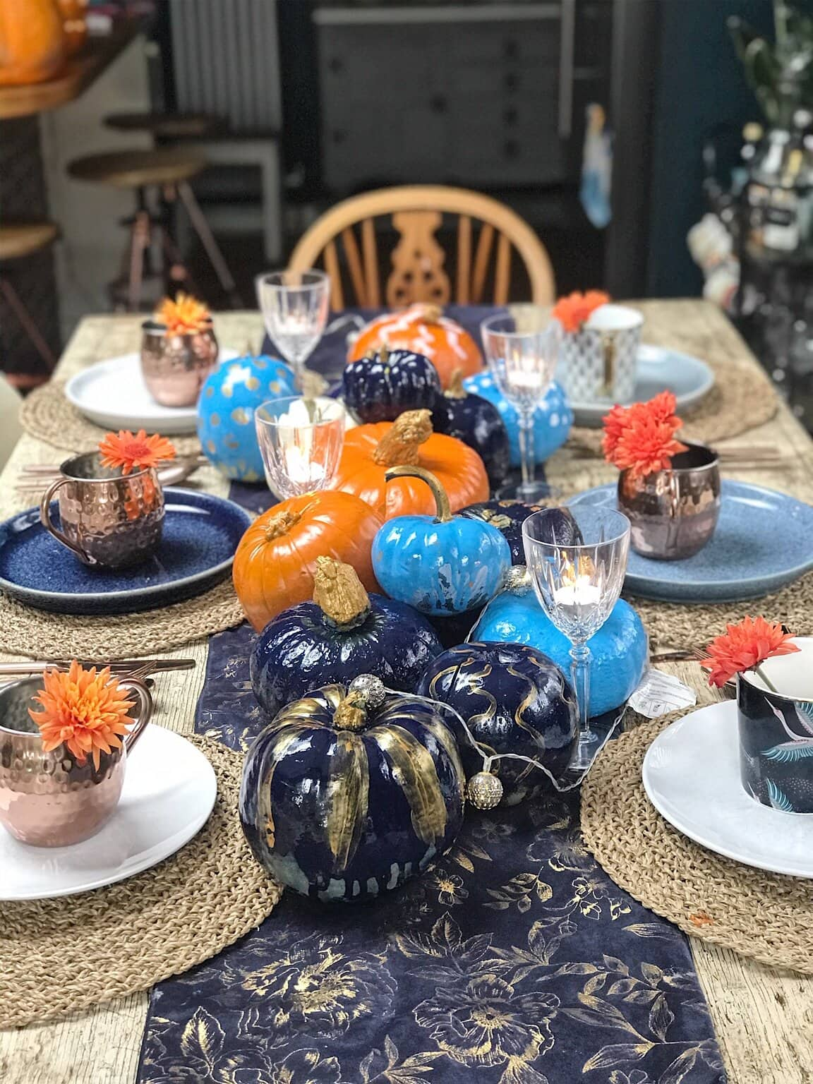 The pumpkins displayed on the table