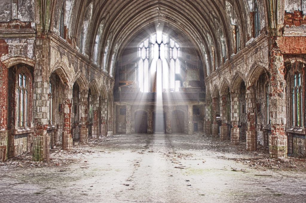 Interior of St. Agnes Church, decaying old building, ruin porn