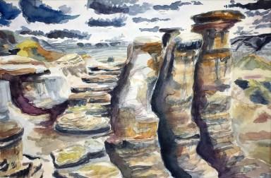 Hoodoos, Drumheller Valley, Alberta Badlands, 2014 Watercolor, pencil on paper