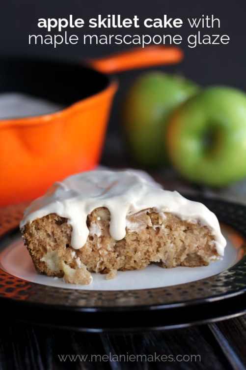 Apple Skillet Cake with Maple Marscapone Glaze   Melanie Makes
