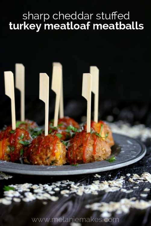 Sharp Cheddar Stuffed Turkey Meatloaf Meatballs | Melanie Makes