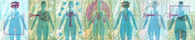 Melanie Mowinski, Waxing My Third Eye, letterpress, collage, colored pencil, 2015