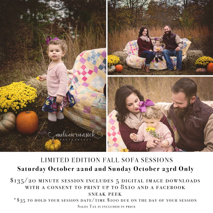 Melanie Runsick Photography Fall Sofa Limited Edition Session Hay Couch Straw Couch Family Session