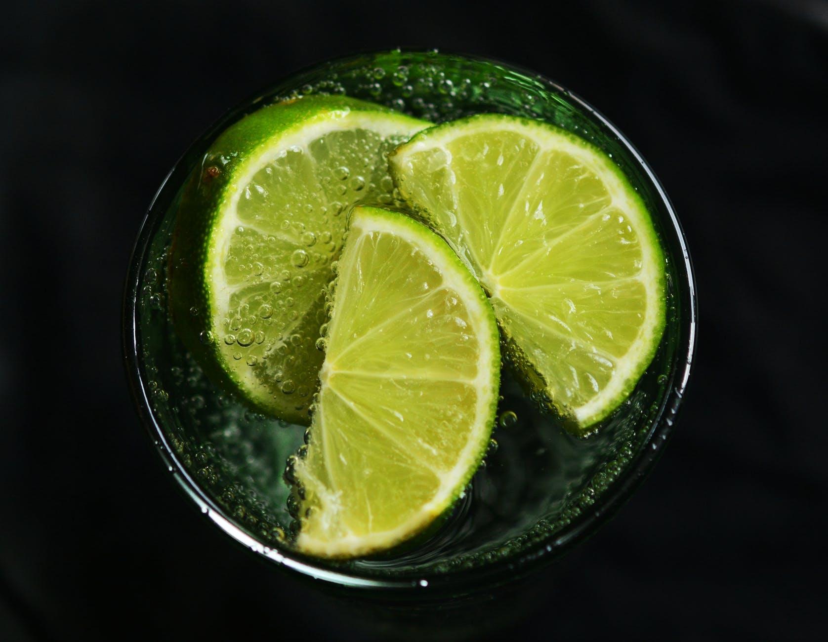 beverage bubble citrus close up