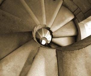 Winding stairwell up to tower