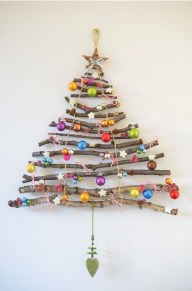 Christmas tree crafted from sticks