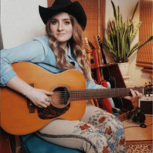 British country singer Katy Hurt in floral embroidered jeans