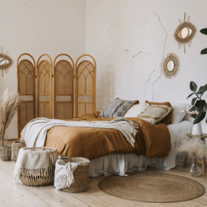 Boho bedroom with bohemian room divider