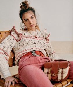 Cream summer sweater boho jumper with frills